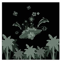 Surfboard With Dolphin, Flowers, Palm And Turtle Large Satin Scarf (square)