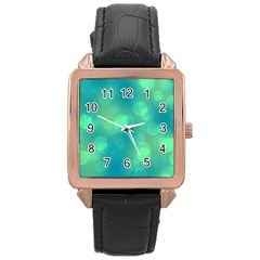 Soft Lights Bokeh 1b Rose Gold Leather Watch