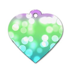 Soft Lights Bokeh 2 Dog Tag Heart (one Side)