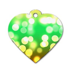 Soft Lights Bokeh 3 Dog Tag Heart (two Sides)