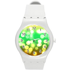 Soft Lights Bokeh 3 Round Plastic Sport Watch (m)