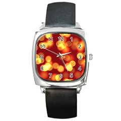 Soft Lights Bokeh 4 Square Metal Watch
