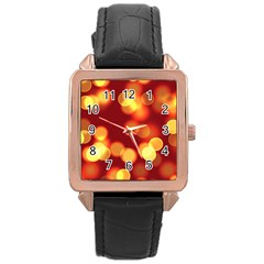Soft Lights Bokeh 4 Rose Gold Leather Watch
