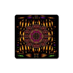 A Flaming Star Is Born On The  Metal Sky Square Magnet