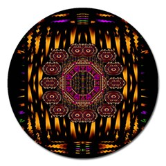 A Flaming Star Is Born On The  Metal Sky Magnet 5  (round)