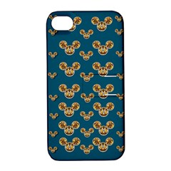 Cartoon Animals In Gold And Silver Gift Decorations Apple Iphone 4/4s Hardshell Case With Stand