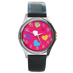 Valentine s Day Pattern Round Metal Watch