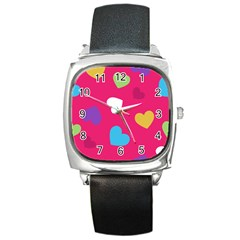 Valentine s Day Pattern Square Metal Watch