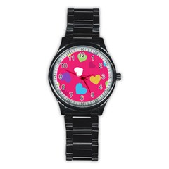 Valentine s Day Pattern Stainless Steel Round Watch