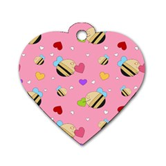 Bee Mine Valentine Dog Tag Heart (one Side)
