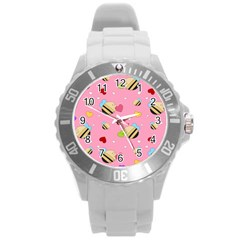 Bee Mine Valentine Round Plastic Sport Watch (l)