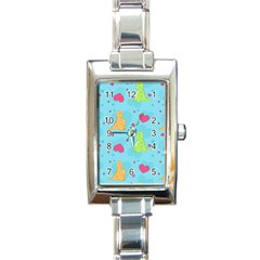 Dinosaur Love Pattern Rectangle Italian Charm Watch