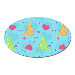 Dinosaur Love Pattern Oval Magnet