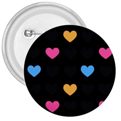Emo Heart Pattern 3  Buttons