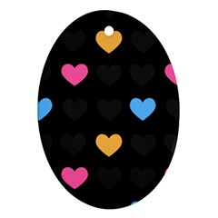 Emo Heart Pattern Ornament (oval)
