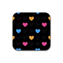 Emo Heart Pattern Rubber Square Coaster (4 Pack)