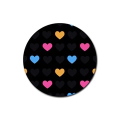 Emo Heart Pattern Rubber Round Coaster (4 Pack)