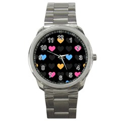Emo Heart Pattern Sport Metal Watch