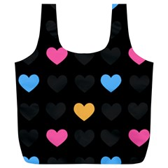 Emo Heart Pattern Full Print Recycle Bags (l)