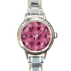 Mauve Valentine Heart Pattern Round Italian Charm Watch