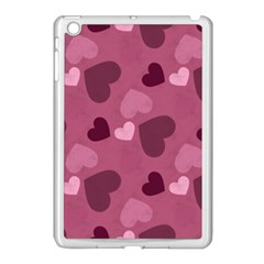 Mauve Valentine Heart Pattern Apple Ipad Mini Case (white)