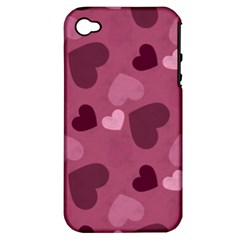Mauve Valentine Heart Pattern Apple Iphone 4/4s Hardshell Case (pc+silicone)