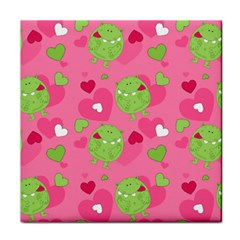 Monster Love Pattern Tile Coasters