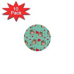 Owl Valentine s Day Pattern 1  Mini Buttons (10 Pack)