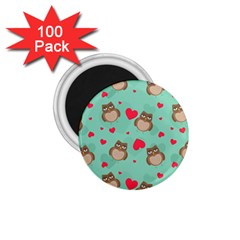 Owl Valentine s Day Pattern 1 75  Magnets (100 Pack)