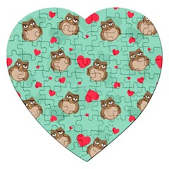 Owl Valentine s Day Pattern Jigsaw Puzzle (heart)