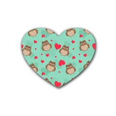 Owl Valentine s Day Pattern Heart Coaster (4 Pack)