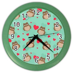 Owl Valentine s Day Pattern Color Wall Clocks