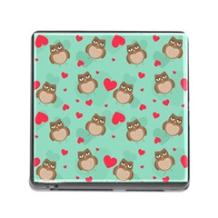 Owl Valentine s Day Pattern Memory Card Reader (square)