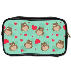 Owl Valentine s Day Pattern Toiletries Bags 2 Side