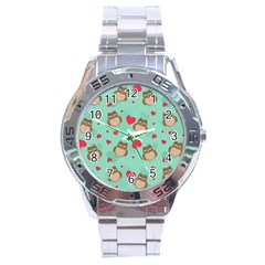Owl Valentine s Day Pattern Stainless Steel Analogue Watch