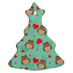 Owl Valentine s Day Pattern Christmas Tree Ornament (two Sides)