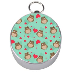 Owl Valentine s Day Pattern Silver Compasses