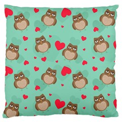 Owl Valentine s Day Pattern Large Flano Cushion Case (two Sides)