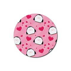 Penguin Love Pattern Rubber Coaster (round)