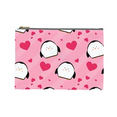 Penguin Love Pattern Cosmetic Bag (large)