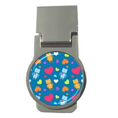 Robot Love Pattern Money Clips (round)