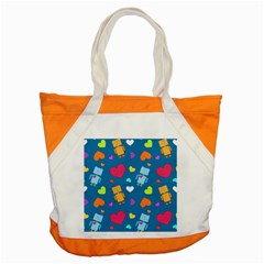 Robot Love Pattern Accent Tote Bag
