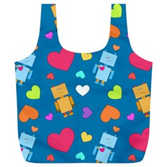 Robot Love Pattern Full Print Recycle Bags (l)