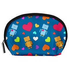Robot Love Pattern Accessory Pouches (large)