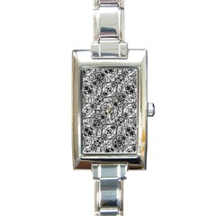 Black And White Ornate Pattern Rectangle Italian Charm Watch