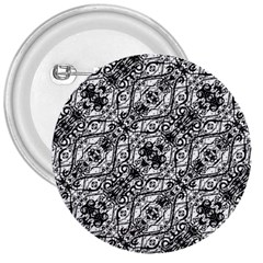 Black And White Ornate Pattern 3  Buttons