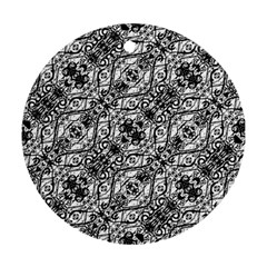 Black And White Ornate Pattern Ornament (round)