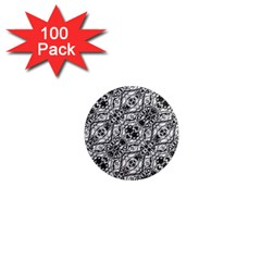 Black And White Ornate Pattern 1  Mini Magnets (100 Pack)
