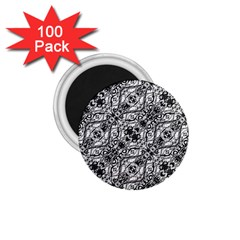 Black And White Ornate Pattern 1 75  Magnets (100 Pack)