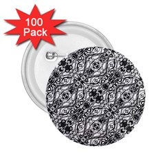 Black And White Ornate Pattern 2 25  Buttons (100 Pack)